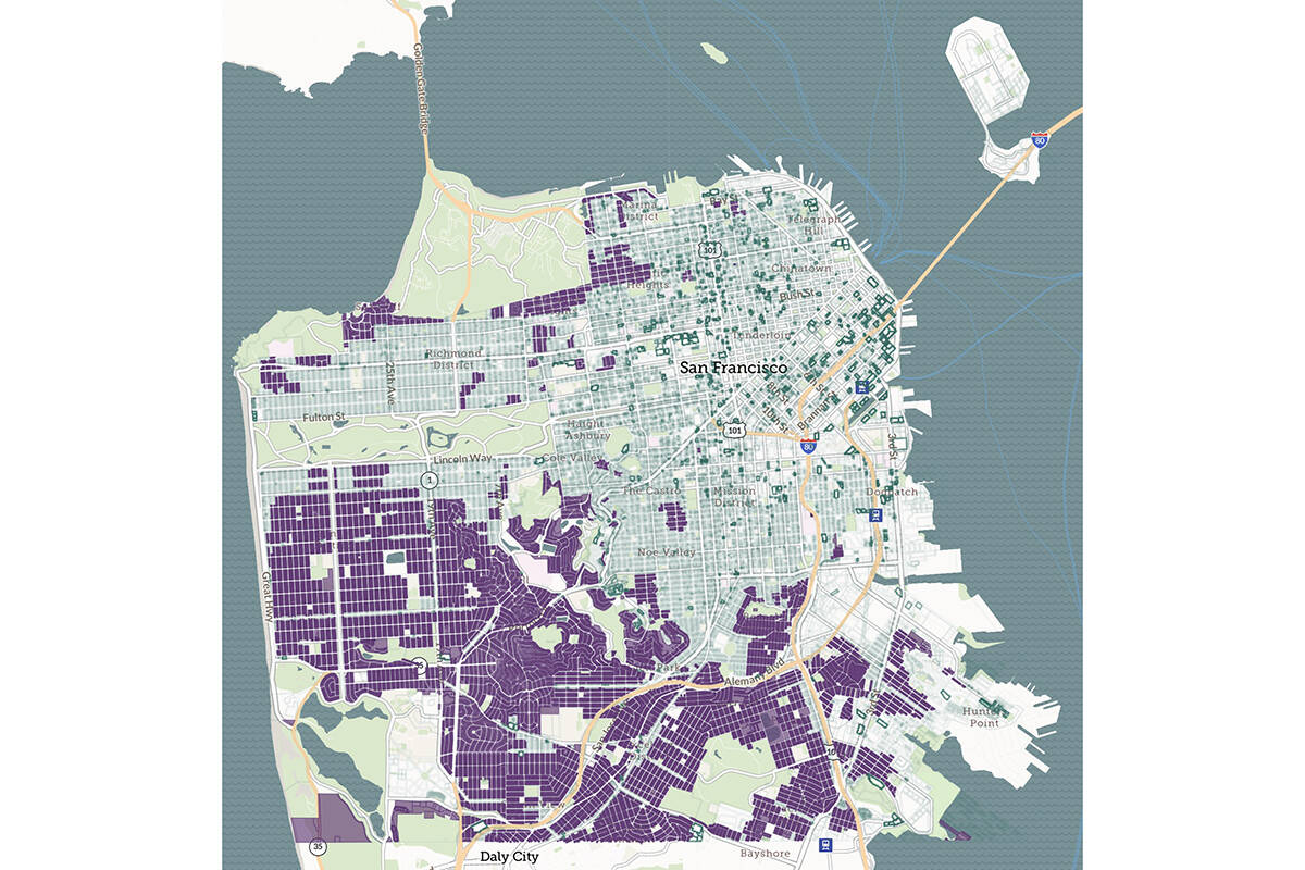 SB 9 would allow for duplexes in many of the purple lots, which are currently zoned for single family homes. (Image courtesy of Robert Fructman)