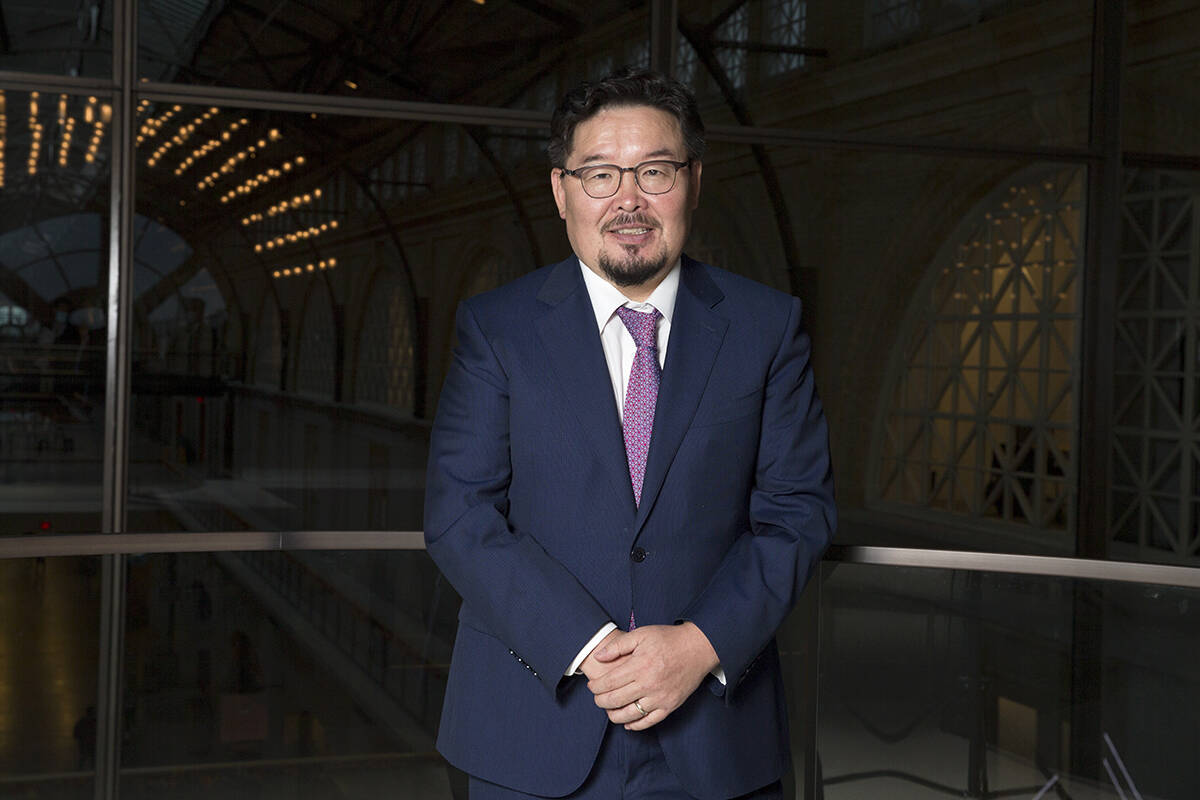 Gombojav Zandanshatar, speaker of parliament for Mongolia, was at Shack15 in the Ferry Building in The City on Sept. 16. (Kevin N. Hume/The Examiner)