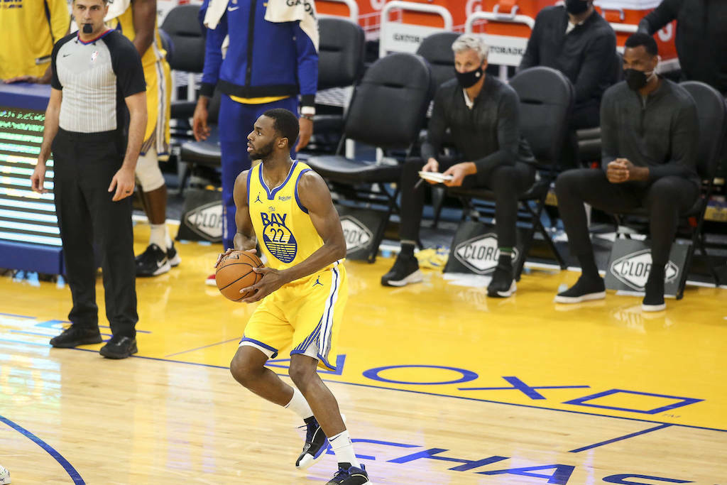 Golden State Warriors forward Andrew Wiggins hasn't publicly spoken about his bid to receive a religious exemption from the NBA to forgo a COVID vaccination. (Chris Victorio/Special to The Examiner)
