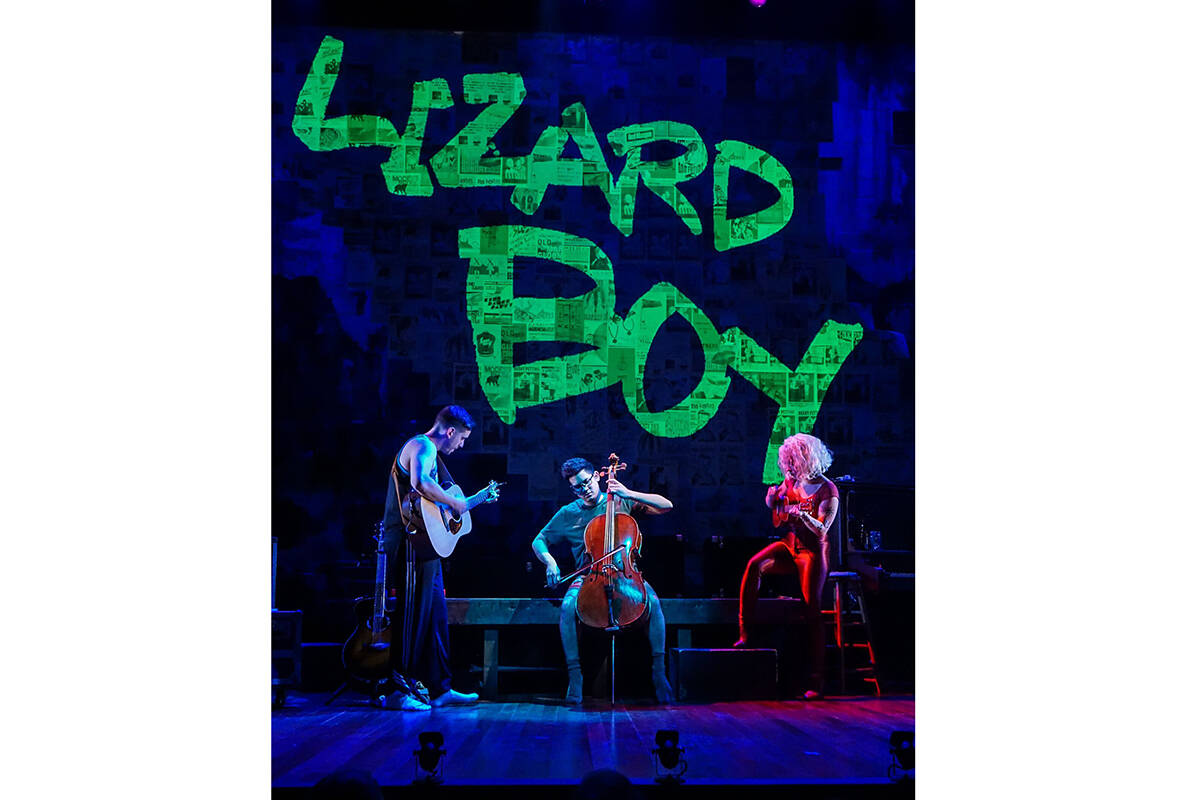 """William A. Williams, Justin Huertas and Kirsten """"Kiki"""" deLohr Helland star in """"Lizard Boy,"""" the contemporary comic book-infused musical hit opening TheatreWorks Silicon Valley's 51st season. <ins>(Courtesy Alabastro Photography)</ins>"""