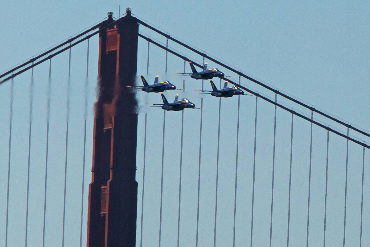 The Blue Angels flight team flies neared the Golden Gate Bridge during the Fleet Week in October 2019. (Kevin N. Hume/S.F. Examiner)