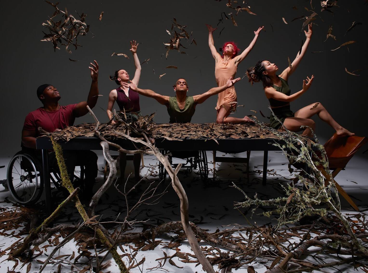 """This weekend at Z Space, AXIS Dance Company premieres """"re:surge,"""" three new works exploring place and belonging. Dancers, left to right, DeMarco Sleeper, Louisa Mann, JanpiStar, Sonsherée Giles, Yuko Monden Juma (Photograph David DeSilva)"""